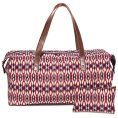 "Jazz up your look with ethnic prints, exotic colors and fab fabrics. Boho chic red/cream/blue/white ikat-print duffle with a matching pouch. The duffle features double handles and zipper closure with goldtone hardware. Each end of the duffle can be unsnapped for extra space.· Duffle: 10"" H x 20"" L x 9 1/2"" D; 30.7"" handle drop.· Pouch: 5"" H x 8"" L· Cleaning: Wipe with a dry cloth· Imported"