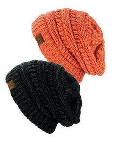 Unisex Soft Stretch Knit Slouchy Beanie (Two Toned- Black/Grey & Peach – Niobe Clothing