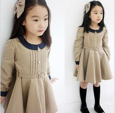Kids Clothes Sweet Girls Lovely Doll Collars Waist Belt One Piece Dress AGES2 7Y | eBay