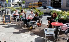 In San Francisco Beautiful worked with North Beach merchants and the Department of Public Works to draft Order which made outdoor cafe and restaurant seating legal in San Francisco. Outside Seating, Built In Seating, Outdoor Cafe, Outdoor Decor, Sidewalk Cafe, Restaurant Seating, Busy City, Wood Planks, Architect Design