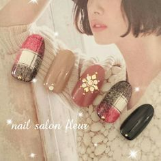 Nail image nail salon fleur Fleur Gotemba 1171552 gray Gureju beige white black Bijou one color check dating spring autumn winter Short Medium