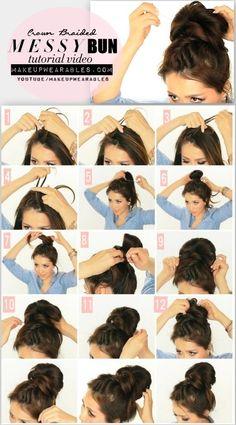 5 minute Messy Bun with Crown Braid Tutorial Video | Cute Hairstyles for Medium Long Hair