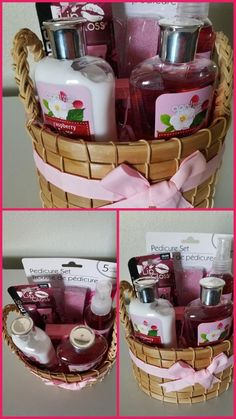 Mother& day gift basket or any occasion: lotion, body wash, body spray, nail polish, pedicure set and lip gloss Mothers Day Baskets, Mother's Day Gift Baskets, Themed Gift Baskets, Raffle Baskets, Diy Mothers Day Gifts, Mother Gifts, Diy Gifts, Gift Hampers, Valentine Gift Baskets