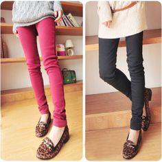 Women Slim Leggings Tights Jeans like Cotton Thick Skinny Pencil Pants 2012
