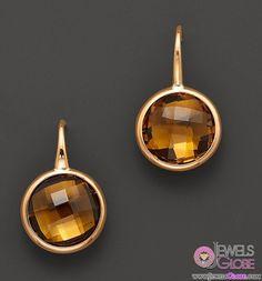 Cognac Quartz Circle Drop Earrings in 14 Kt. Yellow Gold