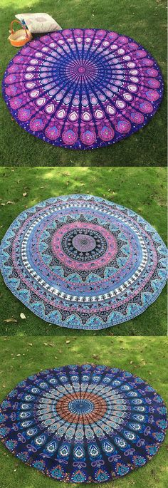150cm Bohemian Style Beach Yoga Towel Mandala Round Bed Sheet Tapestry Tablecloth Silk Scarf