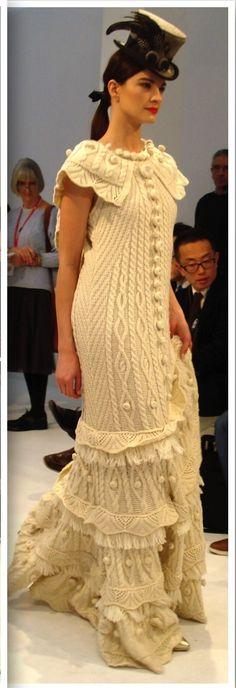 Fantasy Aran Dress from West End Knitwear's Aran Craft collection by Natallia Kulikouskaya Showcase of Ireland 2014, Runway Show...