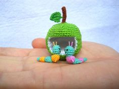 Miniature Worms and Apple  Micro Crochet Valentine Worm