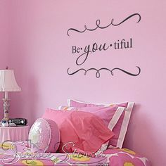 This scripted vinyl wall word is a fun way to encourage a positive self esteem, Be-YOU-tiful means the beauty lies in just being yourself and is a popular choice for teenage girls room decor as well as schools and church groups