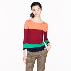 J. Crew multi color blocked lightweight sweater Navy, emerald, maroon, coral color blocked. 3/4 length sleeves, lightweight but warm sweater J. Crew Sweaters