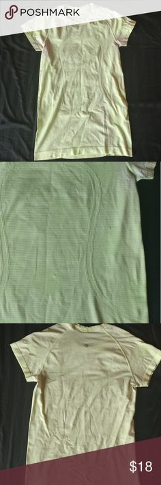 Lululemon active t-shirt Lululemon athletica active t-shirt. Size 6. Light green. Has one small snag and some discoloration under armpits. Used and in fair condition lululemon athletica Tops Tees - Short Sleeve