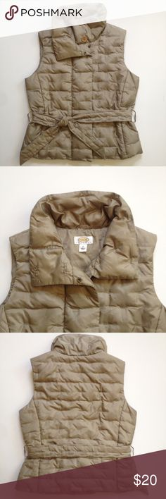 Taupe Down Quilted Vest Beautiful quilted best in taupe. Down filled, belted, button collar detail, perfect condition. Size Medium Petite, but fits regular medium just as well. Talbots. Talbots Jackets & Coats Vests