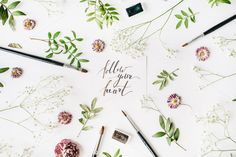 Flat lay composition, workspace with quote make it happen written in calligraphy style on white paper Photos For Sale, Stock Photos, Thank You Writing, Hand Lettering For Beginners, Lettering Tutorial, Follow Your Heart, Arts And Entertainment, Heart Art, Rose Buds