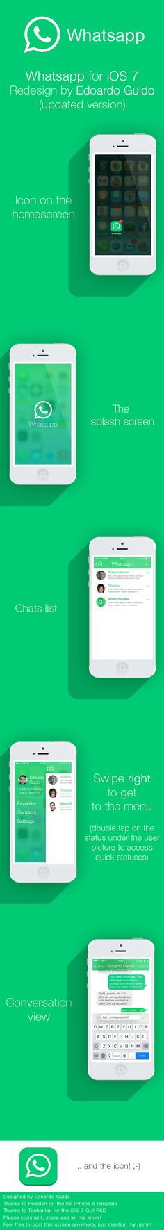 Whatsapp for iOS 7 [REUPDATED] by Edoardo Guido, via Behance