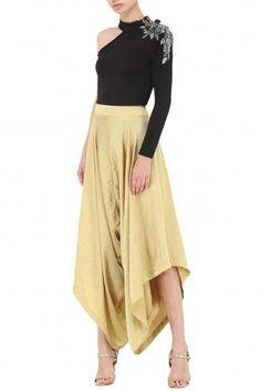 GUNU SAHNI Gold Draped Pants #gunusahni #gold #drape #pants