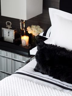Balmuir St Tropez bed linen and Chamonix alpaca fur cushion cover look great together. Photo: Fabulous things blog