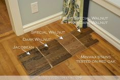 Minwax stain colors tested on red oak hardwood flooring - Jacobean,, Dark Walnut, Special Walnut - 1 #woodfloor