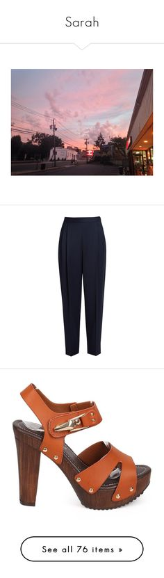 """""""Sarah"""" by valley-of-the-teenage-dolls ❤ liked on Polyvore featuring pants, trousers, calças, the row, navy, wool gabardine pants, pleated front pants, blue trousers, tapered leg pants and peg leg pants"""
