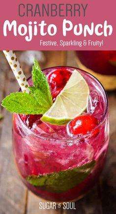 This Cranberry Mojito Punch is so refreshing and flavorful! It's a festive sparkling cocktail that's sure to have everyone dancing the night away at your holiday party! The red and green make it the perfect Christmas cocktail recipe! Winter Cocktails, Winter Wedding Drinks, Christmas Cocktails, Holiday Drinks, Fun Cocktails, Summer Drinks, Cocktail Drinks, Christmas Punch, Christmas Cocktail Party
