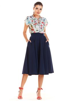 Navy Blue Midi Skirt with Pockets Midi Skirt With Pockets, Coco Fashion, Black Button, I Dress, High Waisted Skirt, Navy Blue, Satin, Spandex, Casual
