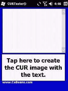 CURTexter©  This program converts a text box with text to a 32x32 CUR (Cursor file) that you can use on your desktop PC. Select the width/height and font size and enter the text for the icon. When you tap the 'Convert to CUR' button the program will convert the text to a .CUR file.  http://www.cebeans.com/curtexterp.htm