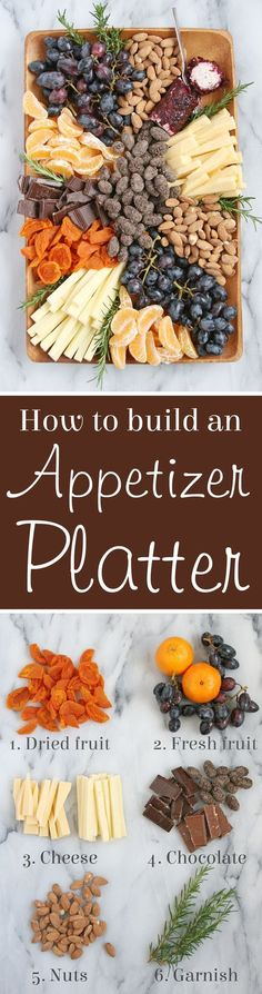 Healthy Tips How to build a beautiful gourmet Appetizer Platter! - How to build a beautiful appetizer platter, filled with fruit, cheese, nuts and chocolate! This gourmet appetizer plate would be welcome at any party! Gourmet Appetizers, Appetizer Plates, Appetizers For Party, Appetizer Recipes, Gourmet Cheese, Gourmet Meals, Cheese Food, Cheese Bites, Cheese Party