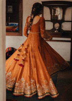Orange Gold Mehendi Anarkali with Latkans, Desi Wedding Dresses, Pakistani Wedding Outfits, Indian Bridal Outfits, Indian Bridal Fashion, Indian Fashion Dresses, Indian Designer Outfits, Bridal Dresses, Wedding Hair, Mehendi