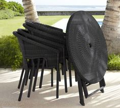 Palmetto ALL-WEATHER wicker Folding Bistro Table & Chair Set  .  •durable synthetic  •completely weatherproof •maintenance-free. •the table can be folded • the chairs are stack-able for compact storage. #summer #dining #bistro