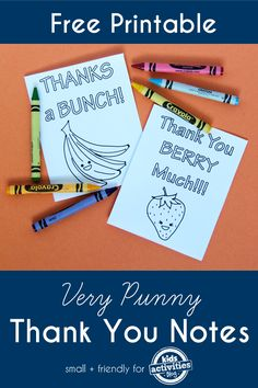 Free Printable Thank You Notes - My kids would love coloring these!