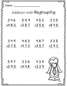 3-digit addition with regrouping--2nd grade math worksheets--FREE