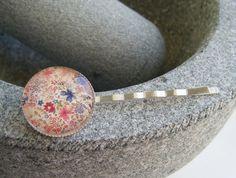 FOLK FLOWERS silverplated bobby pin hair slides £4.00