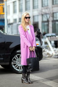 Pink Coats Are The New  Neutral Outerwear #refinery29  http://www.refinery29.com/pink-coats-outfits#slide-7  When it comes to more vibrant pinks, the simpler the shape of the coat, the better.