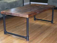 Barn Wood Coffee Table, Reclaimed Top, Pipe Legs. Hand Made - Burntrock