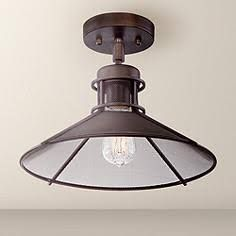 """Glasgow Industrial 14"""" Wide Oil-Rubbed Bronze Ceiling Light - Style # 2F881"""