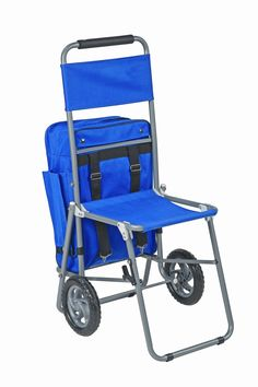 Perfect for E.M.C.C.? It's even Tardis blue! - MABIS 3-in-1 Shopping Cart, Folding Chair and Removable Storage Bag Backpack, Blue