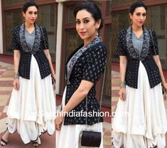 Karishma Kapoor in Shruti Sancheti – At a recent event, actress Kareena Kapoor was spotted in a handloom outfit by Shruti Sancheti. She paired up her outfit with a pair of strapped stilettos Pakistani Dresses, Indian Dresses, Indian Outfits, Indian Clothes, India Fashion, Ethnic Fashion, Lehnga Dress, Gown Skirt, Indian Designer Suits