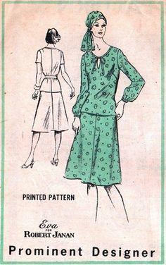 Prominent Designer M126 Anytime Overblouse & Skirt / ca. 1970's - Designer Eva for Robert Janan