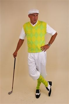 d8662995 Kings Cross Mens Golf Knickers Outfit - Chartreuse Yellow White Overstitch.  Classic GolfArgyle SocksGolf ApparelGolf ...