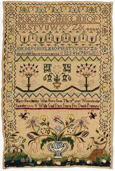 seasonsofwinterberry:  From imgfave.com Antique Sampler, 1757, Cooper Hewitt Museum