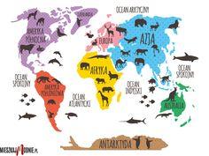 KOLOROWA MAPA ŚWIATA - naklejka dla dzieci KM00009 mieszkajmodnie.pl Geography For Kids, Polish Language, Cute Coloring Pages, Alphabet For Kids, Preschool Science, Tot School, African Animals, Fun Crafts For Kids, Reggio Emilia
