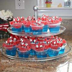Jello crab cups for a cute crab party! Mermaid Theme Birthday, Moana Birthday Party, Little Mermaid Birthday, Little Mermaid Parties, Birthday Party Themes, Birthday Ideas, Mermaid Themed Party, 2nd Birthday, Mermaid Party Food