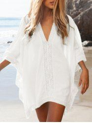 Pizzo Inserire oversize Cover Up Top - WHITE