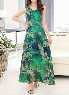 Vestidos Chifón Floral Hasta los tobillos Sin mangas (1042496) @ floryday.com