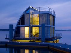 MOS Architects' Prefab on Pontoons - 11 Floating Homes That Really Deliver On Best Water Views - Bob Vila Mos Architects, Tiny House, Boat House, Ideal House, House 2, A As Architecture, Floating Architecture, Lakeside Resort, Home By