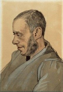 Van Gogh Museum - Portrait of Jozef Blok 1882 Pencil, pen, lithografphic chalk, ink and opaque watercolour on wove paper, 38 x 26 cm