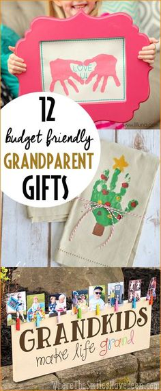Budget Friendly Grandparent Gifts. Clever gifts for your favorite grandma and grandpa. Homemade gifts from grandkids.