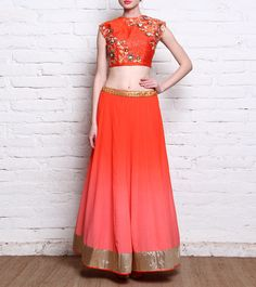 Saachi Thahryamal - Orange Dabka Embroidered Raw Silk Crop Top With Georgette Lehenga Skirt Click on the photo to shop! :)