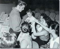 "Elvis with fans, pre-show ~ September 9, 1956 on ""Ed Sullivan Show"""