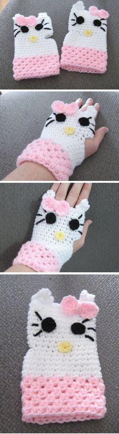 805cd9b41 Hello Kitty Wristlets - *Inspiration* Hallo Kitty, Love Crochet, Crochet  For Kids