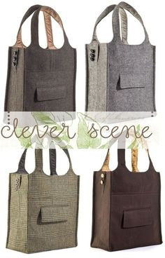 Awesome idea but no tutorial. Sew an old suit into a cute bag.